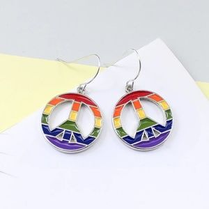 🌈🌈 Rainbow Peace Sign Pendant Drop Earrings 🌈🌈